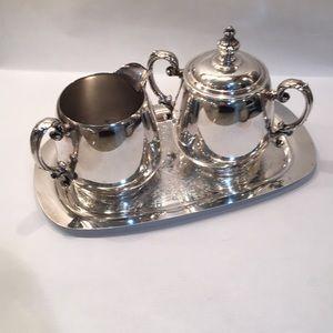 Vintage silver plate cream and sugar